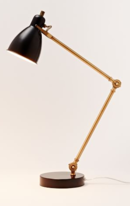 Online Designer Living Room Industrial Task Table Lamp - Black + Antique Brass