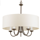 Online Designer Living Room Progress Lighting 21.625-in 5-Light Antique bronze Shaded Chandelier