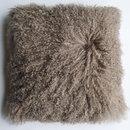 Online Designer Bedroom Tibetan/Mongolian Lamb Fur Pillow Cover - khaki (24
