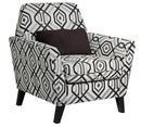 Online Designer Bedroom Roger Black Geometric 35-Inch-W Armchair with Pillow
