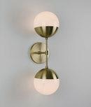 Online Designer Bedroom Modern Brass Light Duel milk glass & solid brass wall sconce - Delphine