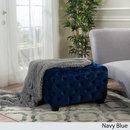 Online Designer Living Room Christopher Knight Home Piper Tufted Velvet Fabric Square Ottoman Bench (NAVY)