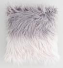Online Designer Bedroom Gray Ombre Mongolian Faux Fur Throw Pillow