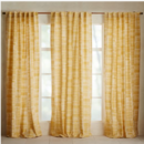 Online Designer Living Room Mid-Century Cotton Canvas Etched Grid Curtains (Set of 2) - Horseradish