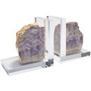 Online Designer Home/Small Office Times Two Design Acrylic Amethyst Bookend Set