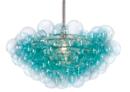 Online Designer Living Room Bubbles Chandelier, Aqua/Clear