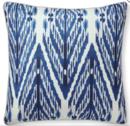 Online Designer Living Room Sophia Ikat Printed Silk Pillow Cover, Blue