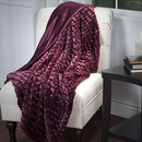 Online Designer Bedroom Lavish Home Plush Striped Embossed Faux Fur Mink Throw - Burgundy
