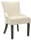 Online Designer Living Room Safavieh Loire Cream Leather Nailhead Dining Chairs (Set of 2)