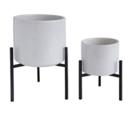 Online Designer Bedroom Bloomingville AH0058 White Speckled Round Stoneware Planter with Black Metal Stand