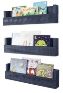 Online Designer Living Room Nursery Bookshelves, Set of 3, Navy Finish