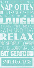 Online Designer Combined Living/Dining BEACH Rules Sign