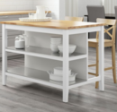 Online Designer Business/Office Stenstorp Kitchen Island in white with oak top.