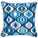 Online Designer Combined Living/Dining TONAL BLUE BARGELLO WAVES PILLOW