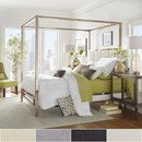 Online Designer Bedroom Solivita Champagne Gold Metal Canopy Bed with Vertical Panel Headboard by iNSPIRE Q Bold