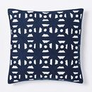 Online Designer Combined Living/Dining Modern Crewel Lattice Pillow Cover - Nightshade