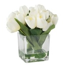 Online Designer Bedroom Tulip Floral Arrangement in Glass Vase