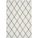 Online Designer Bedroom Moroccan Shag Ivory & Blue Geometric Contemporary Area Rug