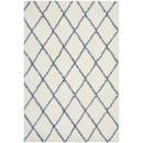 Online Designer Bedroom Moroccan Shag Ivory & Blue Geometric Contemporary Area Rug