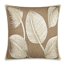 Online Designer Living Room Tropical Palm Leaf Square Embroidered Throw Pillow in Ivory