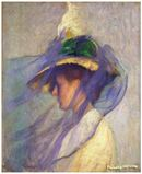 Online Designer Home/Small Office The Blue Veil, Art Painting by Edmund Tarbell