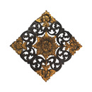 Online Designer Combined Living/Dining Antique Flower Two Tone Hand Carved Teak Wood Wall Art (Thailand)