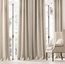 Online Designer Bedroom BELGIAN LINEN CROSS WEAVE DRAPERY - ROD-POCKET (FLAX)