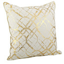 Online Designer Living Room Lustrous Metallic Foil Print Cotton Throw Pillow