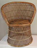 Online Designer Combined Living/Dining Wicker Peacock Fan Back Buri Chair  (vintage)