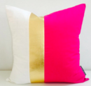 Online Designer Bedroom Hot Pink Gold Pillow Cover