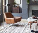 Online Designer Living Room Lucas Leather Swivel Base Chair