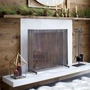 Online Designer Living Room Antiqued Brass Fireplace Screen