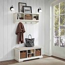 Online Designer Bathroom Crosley Furniture Brennan 2-Piece Entryway Bench and Shelf Set (White)