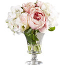 Online Designer Hallway/Entry Faux Rose and Hydrangea Bouquet