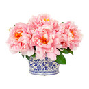 Online Designer Living Room Pink Peony Cluster in Chinoiserie Planter