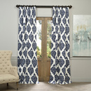 Online Designer Living Room EFF Ikat Blue Printed Cotton Curtain Panel