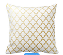 Online Designer Combined Living/Dining Gold Shiny Metallic Quatrefoil Pattern Throw Pillow