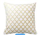 Online Designer Combined Living/Dining Gold Shiny Metallic Quatrefoil Pattern Throw Pillow