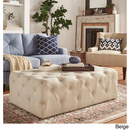 Online Designer Kitchen SIGNAL HILLS Knightsbridge Rectangular Tufted Cocktail Ottoman with Casters