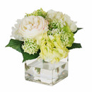 Online Designer Kitchen English Roses and Hydrangea Bouquet in Square Glass Vase by Jane Seymour Botanicals