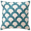 Online Designer Living Room Scales Teal Embroidered Linen Pillow
