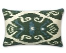 Online Designer Bedroom Silk Ikat With Piping Pillow Cover, Green