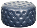 Online Designer Living Room Santee Bonded Leather Round Tufted Ottoman NAVY