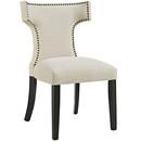 Online Designer Bedroom Curve Fabric Dining Chair in Beige