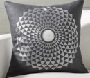 Online Designer Combined Living/Dining Mears Silver Medallion Pillow with Feather-Down Insert 20