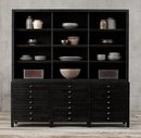 Online Designer Business/Office PRINTMAKER'S WIDE TRIPLE SIDEBOARD & OPEN HUTCH