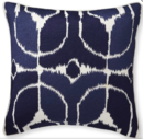 Online Designer Living Room Embroidered Ikat Pillow Cover, Navy