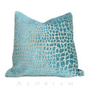 Online Designer Living Room Designer Faux Crocodile Aegean Blue Chenille Velvet Pillow Cushion Zipper Cover