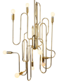 Online Designer Kitchen Stilnovo LS1143S Trombone 10 Light Chandelier in Gold