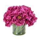 Online Designer Living Room Magenta Peony Bouquet in Acrylic Water Glass Vase